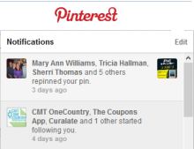 Pinterest notifications, illustrating social media marketing